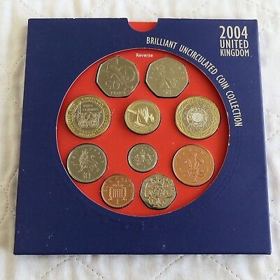 2004 ROYAL MINT UK BRILLIANT UNCIRCULATED 10 COIN SET - sealed pack