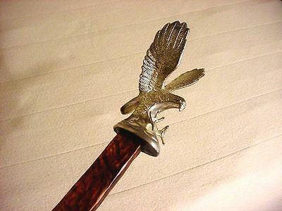 unique 4+ foot SILVER EAGLE RUSTIC RIVED WALKING STICK / JIM HALL KY CANE ARTIST