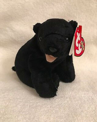 Ty Beanie Baby CINDERS Plush Black Bear with Tan Mouth 2000 Star,MWMT
