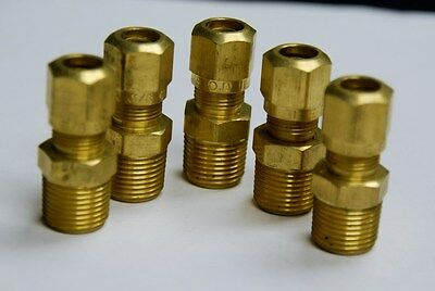 Brass Fittings DOT Air Brake Male Connector, Tube OD 3/8, Male Pipe 1/4, Qty 5