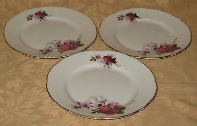 "3 x Royal Stafford Honeybunch English Bone China 7"" Side Plates - more available"