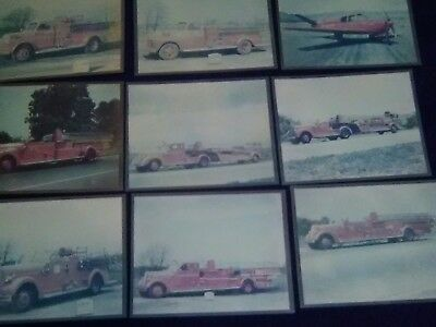 Vintage fire truck photos lot of 8 & one airplane THE SEAGRAVE CORP 8X10 COLOR