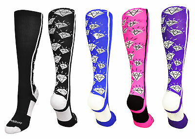 Softball Diamonds Socks Otc Over Calf Girls Fun Crazy Funky Kids T-Ball