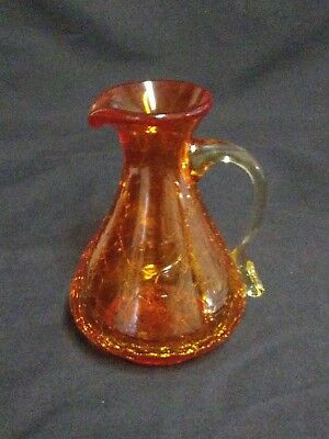 Vintage Orange Crackle Blown Glass Creamer