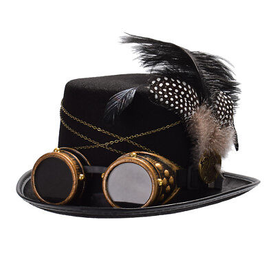 Gothic Victorian Steampunk Feather Gear Top Hat With Goggle Party Costume Hat