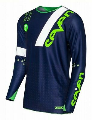 Seven Zero Jersey League Navy Green Medium Motocross