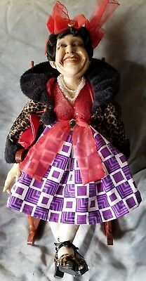 """Ceramic Doll Timeless Unique Collectible  28"""" Happy Vintage Lady Pre-"""