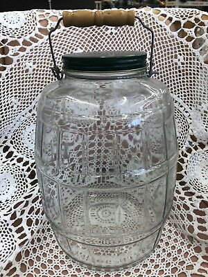 Vintage Large Glass Barrel Pickle Jar w/ bail wood handle And Green Lid