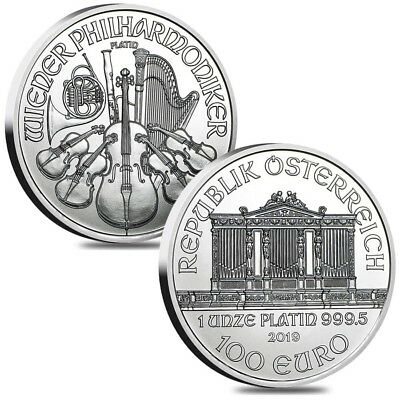 Lot of 2 - 2019 1 oz Austrian Platinum Philharmonic Coin BU