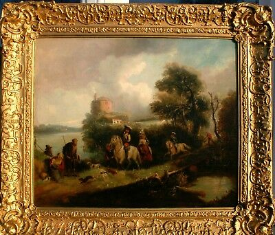 Fine 18th.Century DUTCH SCHOOL OLD MASTER Antique Oil Painting the HUNTING PARTY
