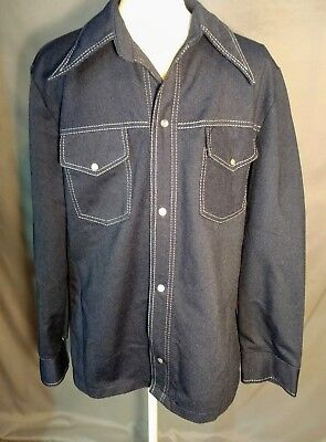 Vintage 1970s Mens Shirt Navy Polyester Large JCPenney  Denim Look Pearl Snaps