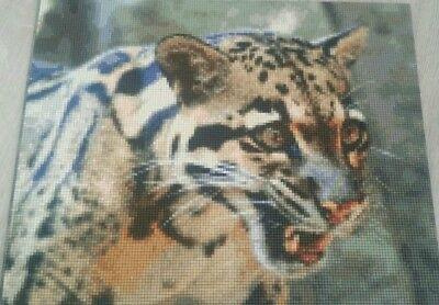 Physical Pixel Art Of A Clouded Leopard