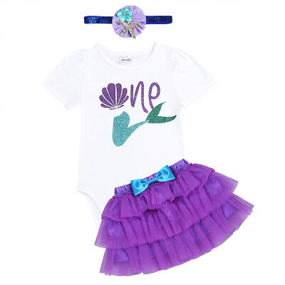 Cute Baby Girl First 1st Birthday Outfits Clothes Tops Romper+Skirt+Headband Set