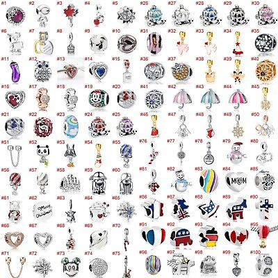European Silver CZ Charms Merry Xmas Beads Pendant Fit 925 Sterling Bracelets
