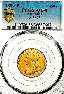 Rare 1899 P Queen Victoria Australia Perth Mint Gold Sovereign PCGS AU58