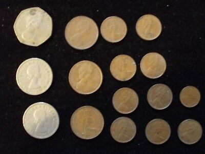 Elizabeth II Coins Lot Of 16 Pcs Two Shillings, New Pence 50, New Penny 1/2,Etc