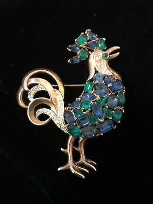 Ultra Rare Crown Trifari Jeweled Symphony Rhinestone Rooster Brooch Pat Pend
