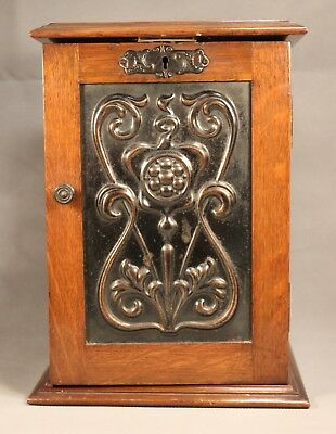 Superb Antique Oak PIPE SMOKER'S CABINET w/ Rack & Drawer Tobacco Stand Hardwood