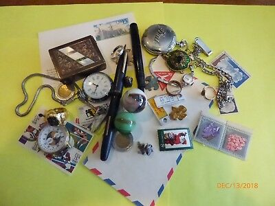 Estate Junk Drawer Lot w/ Watches, Jewelry, stamps,fountain pen and more