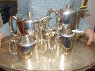 Large 4 Piece Walker & Hall Silver Plate Hotel Ware Set 2.5 Pint Teapot No Tray