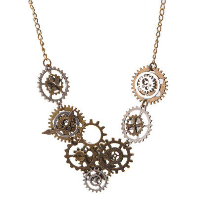 Vintage Steampunk Watch Movements Gear Necklace Pendant Party Costume Necklace
