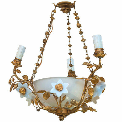 Antique Louis XV Style Gilt Bronze and Glass Chandelier