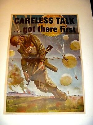 """AUTHENTIC Rare WWII 1944 POSTER Careless Talk Got There First by STOOPS, 20""""X28"""""""