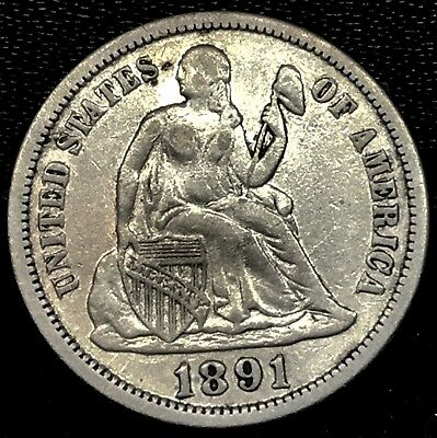 No Reserve: 1891 SEATED LIBERTY DIME IN VERY FINE CONDITION. RARE !