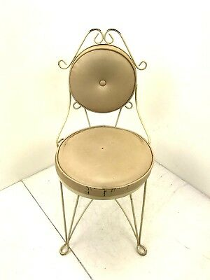 Antique Ice Cream Parlor Child's Chair Wrought Iron Frame Cushion Twisted Metal
