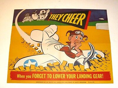 AUTHENTIC Directorate of Air Traffic USAAF Safety POSTER WWII Landing Gear 1940s