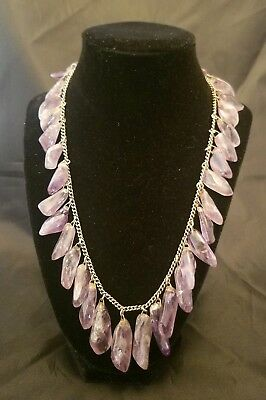 Vtg Smooth Natural Dangling Amethyst Collar/Necklace on Silver Chain 3.89 oz