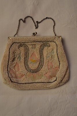 Amazing Vintage 1930/40's Hand-Embroidered and Glass Beaded  Evening Bag