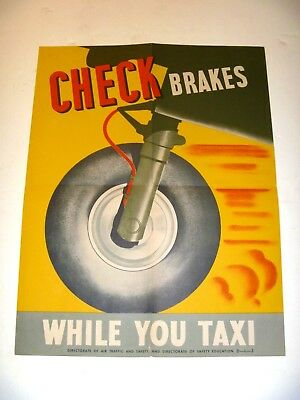 AUTHENTIC Directorate of Air Traffic USAAF Safety POSTER WWII CHECK BRAKES 1940s