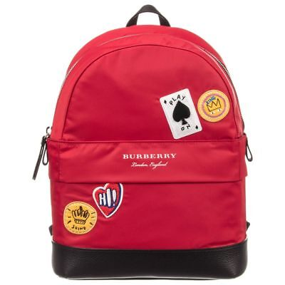 Nwt New Burberry Nico Kids Girls Boys Red Cards Logo Backpack Back