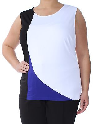 CALVIN KLEIN $44 Womens New 1476 White Color Block Sleeveless Top 2X B+B