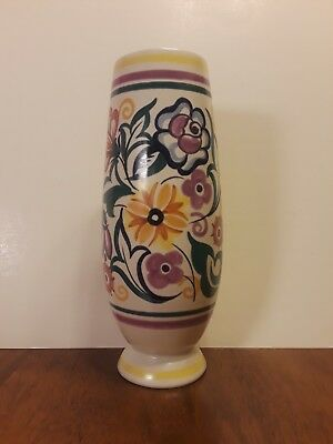 "POOLE POTTERY Traditional ""Floral"" Vase CS HAND-PAINTED Gwen Haskins ENGLAND VTG"