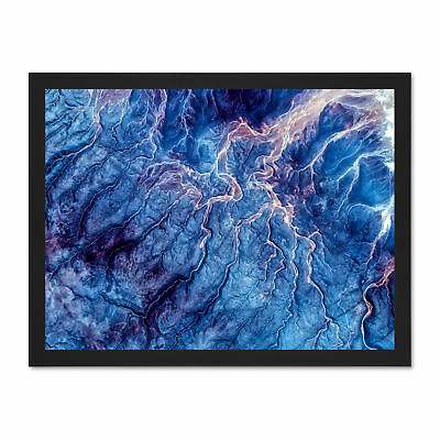 Blue Trippy Psychedelic Veins Large Framed Art Print Poster 18x24 Inches