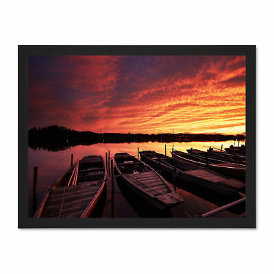 Photo Seascape Beach Boats Lake Sunset Framed Art Print Poster 18x24 Inches