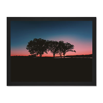 Pretty Pink Blue Sky Sunset Trees Large Framed Art Print Poster 18x24 Inches