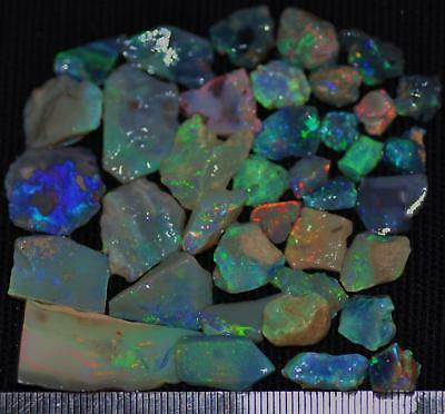 100 Cts Solid Gem Quality Lightning Ridge Rough And Rough Rubbed Opal Parcel 70