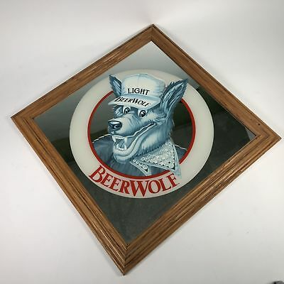 """Coors Light Beer Wolf 1986 Adolph Coors Company Framed 17"""" x 17"""" Man Cave Mirror"""