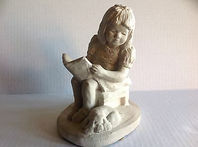 Austin sculpture Happy Ending girl reading book to dog 1987 Dee Crowley