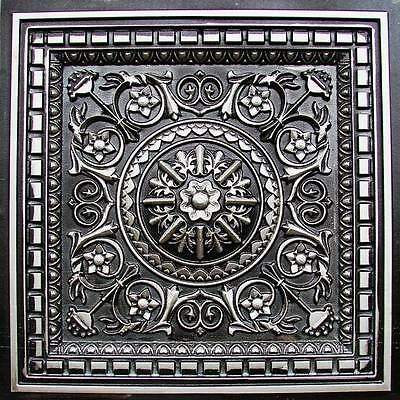 Decorative D215 Antique Silver PVC Faux Tin Drop-In Ceiling Tiles 24 x 24