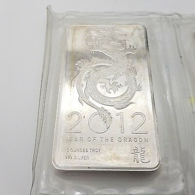 2012 Year of The Dragon 10 Troy Ounce Ten Oz Pure .999 Fine Silver Bar Sealed