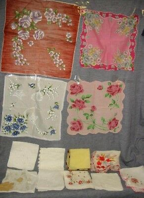 Lot Antique Hankie Handkerchief Crochet Embroidery Painted Vtg