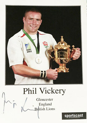 Signed Phil Vickery Autograph Card - England Rugby + *certificate*