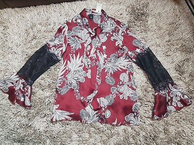River Island Red Print Wide Leg Evening Occasion Jumpsuit Size 6