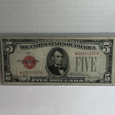 1928F $5 United States Star Note Red Seal In XF Condition