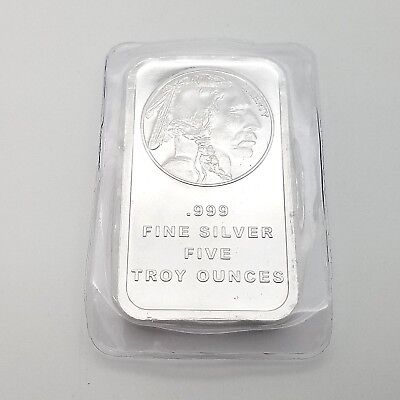 American Buffalo by SilverTowne 5 Ounce Troy Oz Pure .999 Fine Silver Bar**