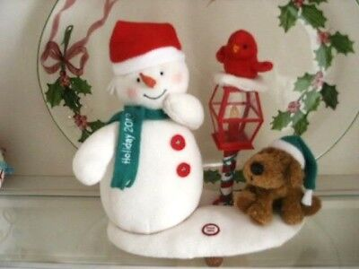 Hallmark Jingle Pals Merry Carolers Trio Snowman Dog Red Bird Light Post 2013